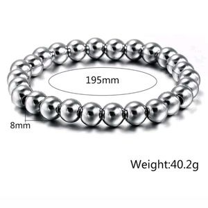 Other - TRENDY polished stainless steel 8mm ball bracelet